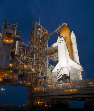The space shuttle Atlantis is seen shortly after the rotating service ...