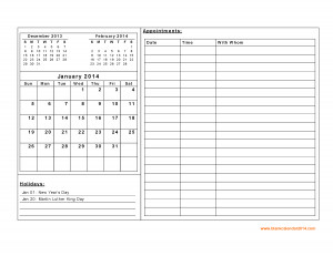 January 2014 calendar (previous and next month, daily notes and ...