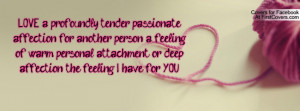 profoundly tender passionate affection for another person a feeling ...