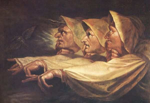 ... witches pointing their fingers at Lady Macbeth for changing Macbeth