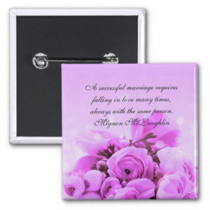 Luxury Lavender Roses Bouquet Quotes Button Pin