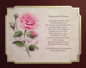 ... Heaven MEMORIAL POEM for DECEASED Grandmother Grandma with Double Mat