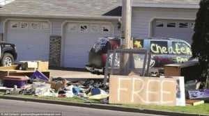 funny pictures, cheating ex husband garage sale, everything is free