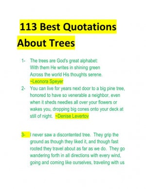 113 best quotations about trees