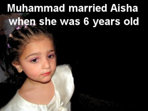 ... Girl with Text: Muhammad married Aisha when she was six years old