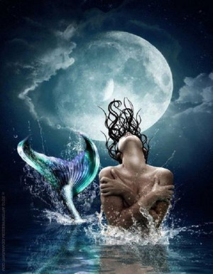 Moonlit #Mermaid #WAter #Ocean #Sea #Fin #Art
