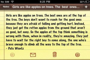 Love Quote : Girls are like apples on trees.