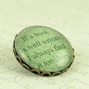 Literary Book Quote Brooch Book Is Well Written by JezebelCharms, $20 ...