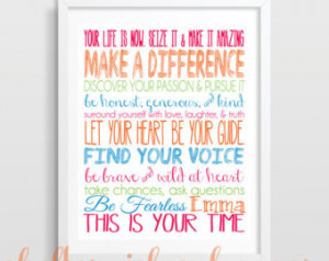 Graduation Gift, Dorm Decor, Inspirational Quote Print- You choose the ...
