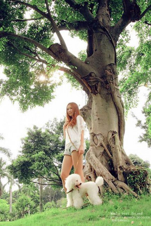 Leisure time of innocent Chinese girl and her pure white dog (06)