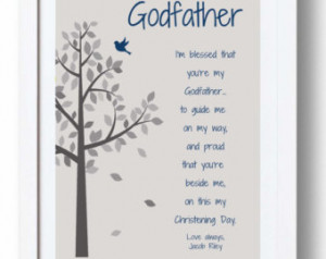 GODFATHER Gift for Baptism Day - 8x 10 Print - Personalized gift for ...