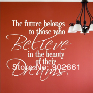 funlife]-FUTURE BELIEVE BEAUTY DREAMS decal wall art sticker quote ...