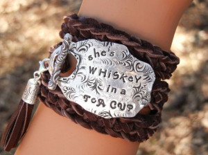Quote Jewelry, Sterling Silver Leather Wrap Bracelet by HappyGoLicky ...