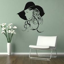 ... Decal Girl in Hat Beauty Hair Nail Salon Shop Room Mural Sticker 96