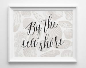 Shell Print, Beach Decor, Beach House Decor, Black Beige Sea Horse Art ...