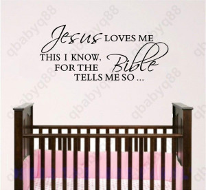 Jesus loves me Wall Quote decals Removable stickers decor Vinyl art ...