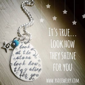 Initial Necklace Look At The Stars Song Lyrics Quote Coldplay ...