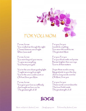 Lyric Sheet for original Tribute to Mother song 'For You, Mom'