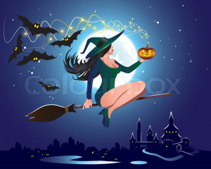 Stock Vector Of Illustration A Witch On Broom