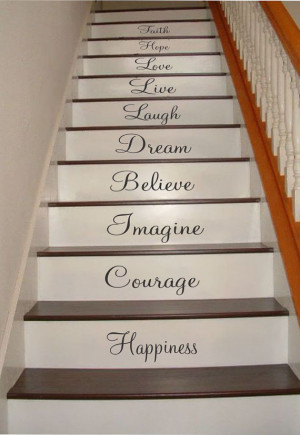 Inspiration Quotes Stair Riser Decals, Stair Stickers, Wall Decals