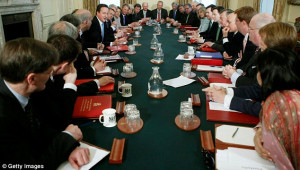 The laughing stops here: First Cameron coalition Cabinet meets to get ...