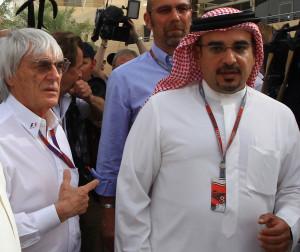 ... and Crown Prince Shaikh Salman bin Isa Hamad Al Khalifa in the paddock