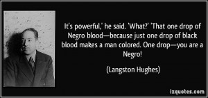 ,' he said. 'What?' 'That one drop of Negro blood—because just one ...