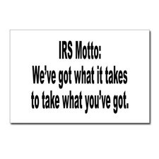 IRS Tax Motto Humor Postcards (Package of 8) for