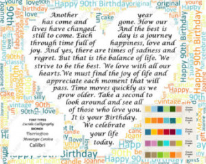 ... 90th Birthday Gift 90th Poem Word Cloud Art 8 X 10 Print 90 Birthday