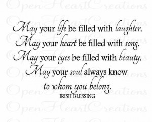 Baby Wall Decals - Irish Blessing Vinyl Wall Quote - May Your Life Be ...