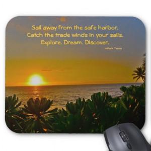 Mark Twain Inspirational Quotes Carpe Diem Mouse Pad