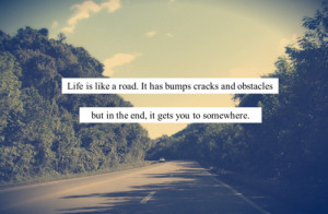 Life is like a road. It has bumps cracks and obstacles but in the end ...