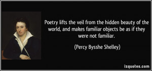 Poetry lifts the veil from the hidden beauty of the world, and makes ...