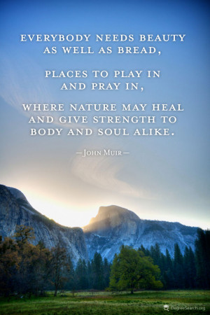 Everybody needs beauty as well as bread, places to play in and pray in ...