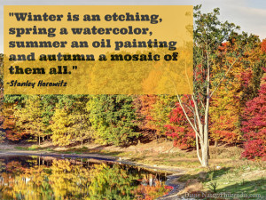 ... an oil painting and autumn a mosaic of them all.- - Stanley Horowitz