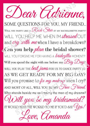 SALE - Custom Printable Will You Be My Bridesmaid or Maid of Honor ...