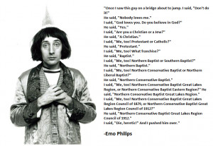 Funny Emo Philips Baptist Religion Joke Image Caption