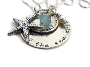 ... sea jewelry,hand stamped, sterling silver- inspirational quote jewelry