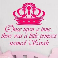 ... WALL STICKER ART QUOTE NAME Princess Prince Crown Girls Bedroom