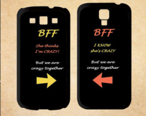 Samsung Galaxy S3 s4 Case,BFF Quote She's Crazy Arrow Best Friends ...