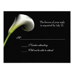 Calla Lily Black and White Response Card Custom Invite from Zazzle.com