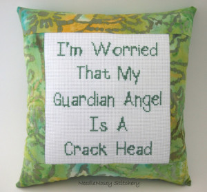 Funny Cross Stitch Pillow, Green Pillow, Guardian Angel Quote. $20.00 ...