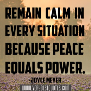 ... because peace equals power.