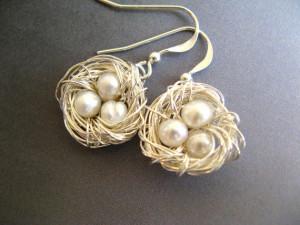 Sterling Silver Bird Nest Earrings Pearls Bridal by RachelRode, $48.00