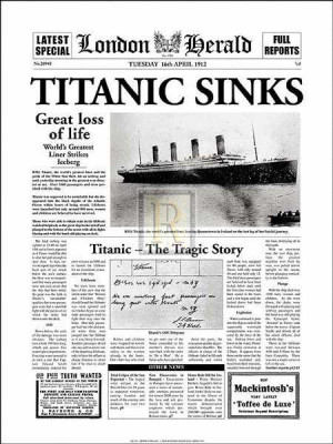Poster made from U.S. newspaper covering the Titanic sinking