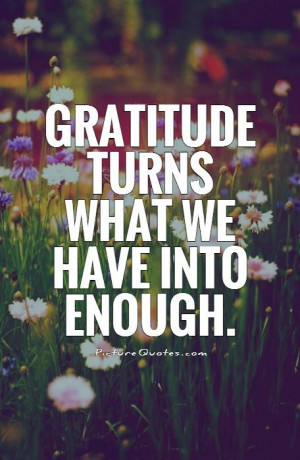 Gratitude turns what we have into enough. Picture Quote #1