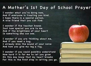 Mother's First Day of school prayer