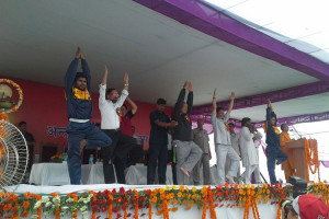 Harish Rawat also participated at an International Yoga Day event