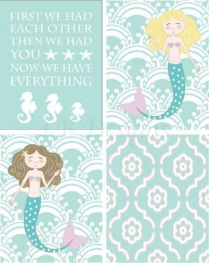 Set of 4 Aqua and White Seahorse/Mermaid Nursery by LJBrodock, $35.00