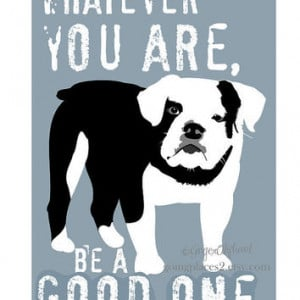 English Bulldog Art Print with Quote by Abraham Lincoln